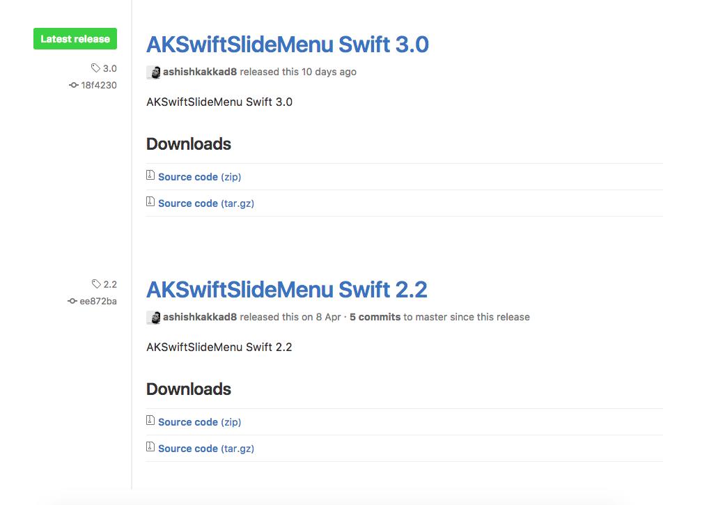 GitHub AKSwiftSlideMenu Releases